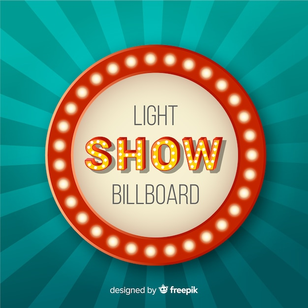 Realistico cartellone luminoso vintage Vettore gratuito