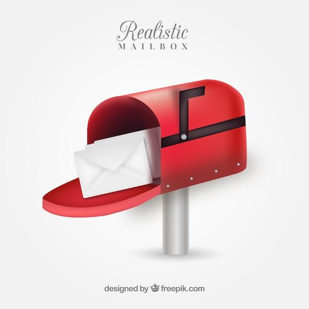 Realistico cassetta postale rossa Vettore gratuito