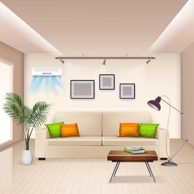 Realistico con camera arredata e moderno condizionatore d'aria a parete Vettore gratuito