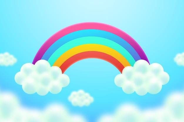 Realistico concetto arcobaleno colorato Vettore gratuito