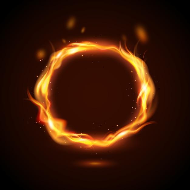 Realistico concetto di anello di fuoco Vettore gratuito
