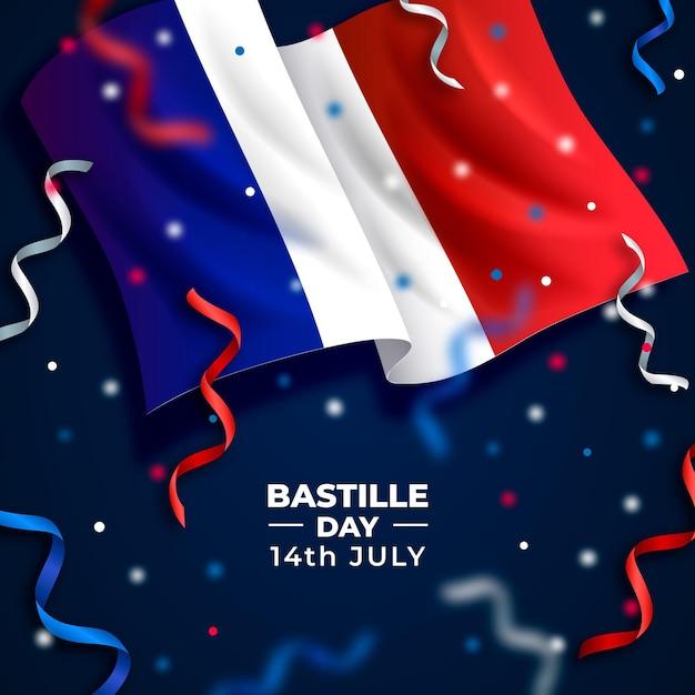 Realistico concetto di bastille day Vettore gratuito