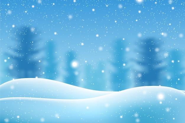 Realistico concetto di carta da parati nevicata Vettore gratuito