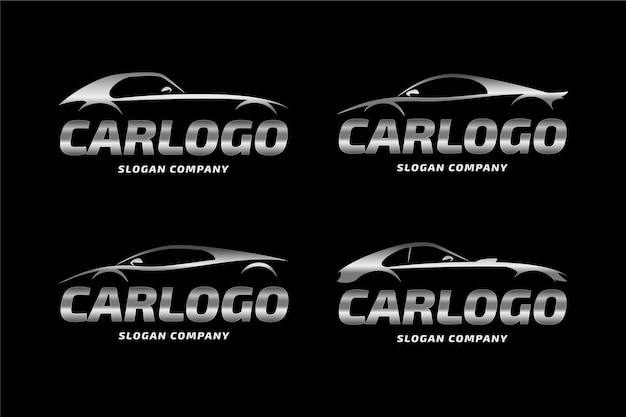 Realistico concetto di logo auto metallica Vettore gratuito