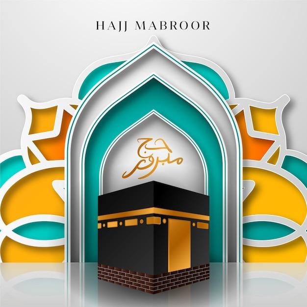 Realistico concetto di pellegrinaggio islamico hajj Vettore gratuito