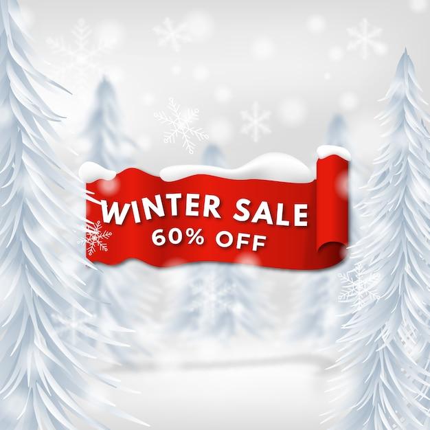 Realistico concetto di vendita invernale Vettore gratuito