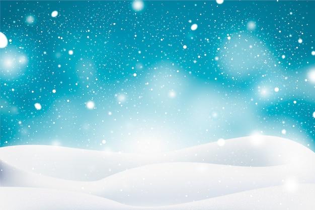 Realistico disegno di sfondo nevicata Vettore gratuito