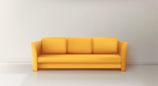 Realistico divano giallo Vettore gratuito