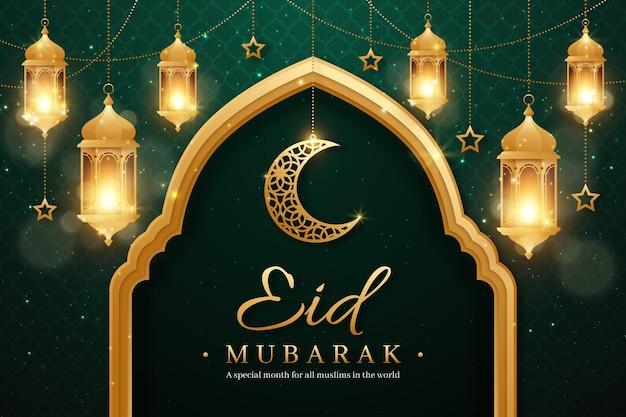 Realistico eid mubarak sfondo con candele e luna Vettore gratuito