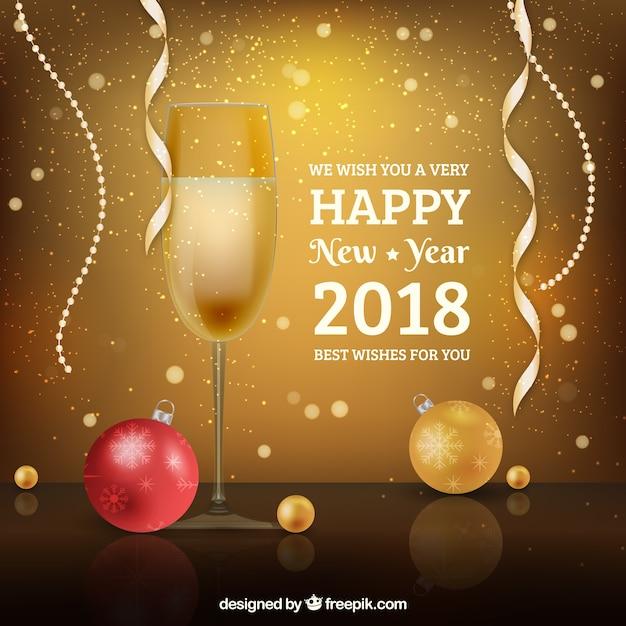 Realistico felice anno nuovo 2018 con bicchiere di champagne e ... 6975a6900d02