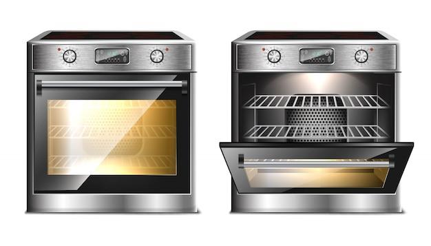 Realistico forno moderno, stufa multifunzione con menu touch e timer in due viste, con porta aperta e chiusa con luce. Vettore Premium