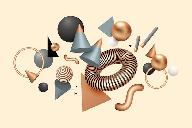 Realistico galleggiante forme geometriche sullo sfondo Vettore gratuito