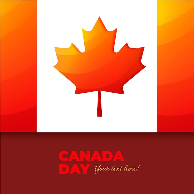 Realistico giorno del canada con bandiera Vettore gratuito