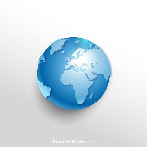 Realistico globo terrestre nei toni del blu Vettore gratuito