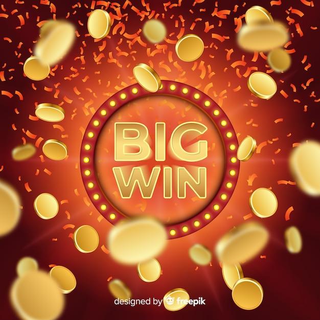 Realistico grande sfondo slot vittoria Vettore gratuito