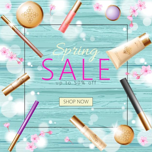 Realistico modello di banner di vendita di cosmetici primavera 3d, poster promozionale quadrato Vettore Premium