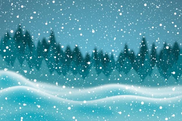 Realistico nevicata sullo sfondo Vettore gratuito