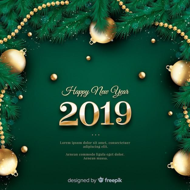 Realistico nuovo anno 2019 sfondo Vettore gratuito