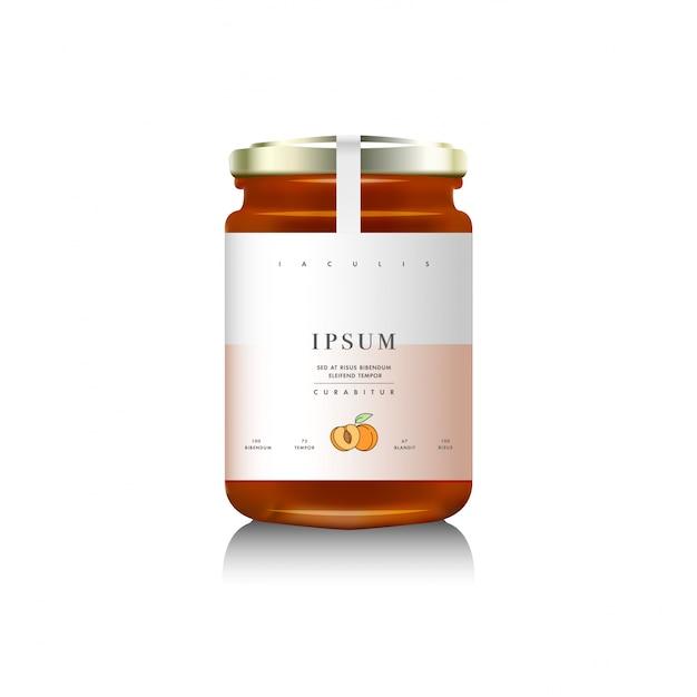 Realistico packaging in bottiglia di vetro per la progettazione di marmellate di frutta. marmellata di albicocche con etichetta di design, tipografia, albicocche disegno a tratteggio. Vettore Premium
