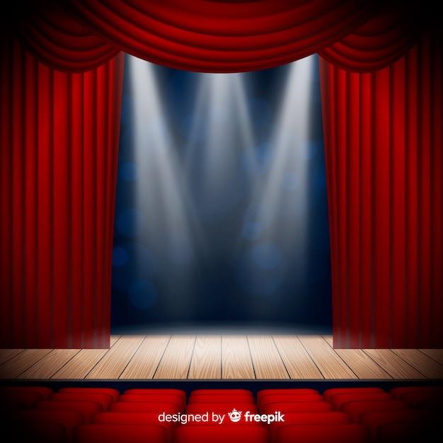 Realistico palcoscenico teatrale con posti a sedere Vettore gratuito