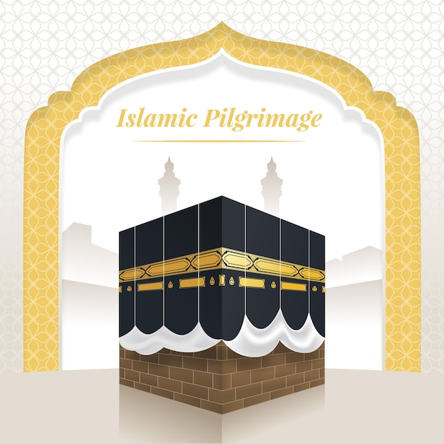Realistico pellegrinaggio islamico Vettore gratuito