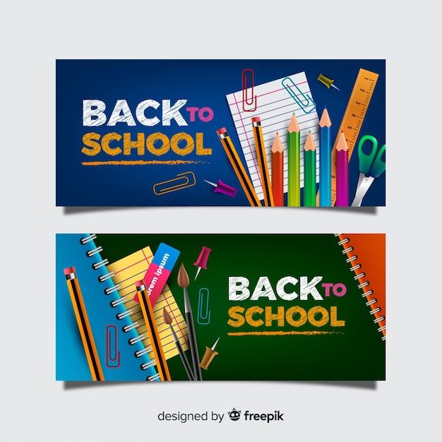 Realistico ritorno a scuola banner Vettore gratuito