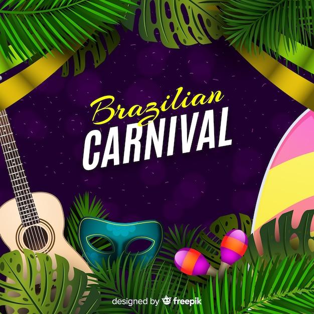 Realistico sfondo di carnevale brasiliano Vettore gratuito