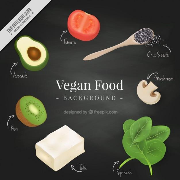 Realistico sfondo di cibo vegan Vettore gratuito