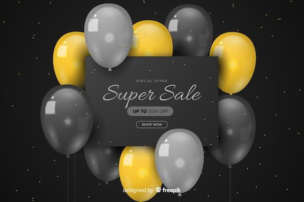 Realistico sfondo di vendita con palloncini Vettore gratuito