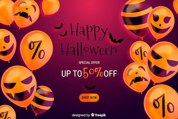 Realistico sfondo di vendita di halloween con lo sconto Vettore gratuito