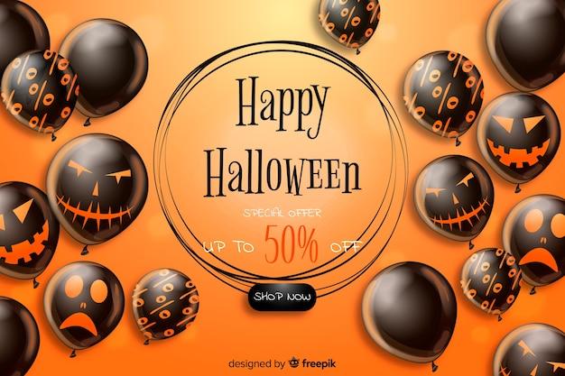 Realistico sfondo di vendita di halloween con palloncini neri Vettore gratuito
