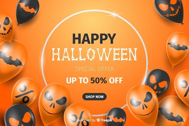 Realistico sfondo di vendita di halloween con palloncini Vettore gratuito