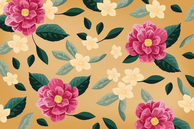 Realistico sfondo floreale dipinto a mano Vettore gratuito