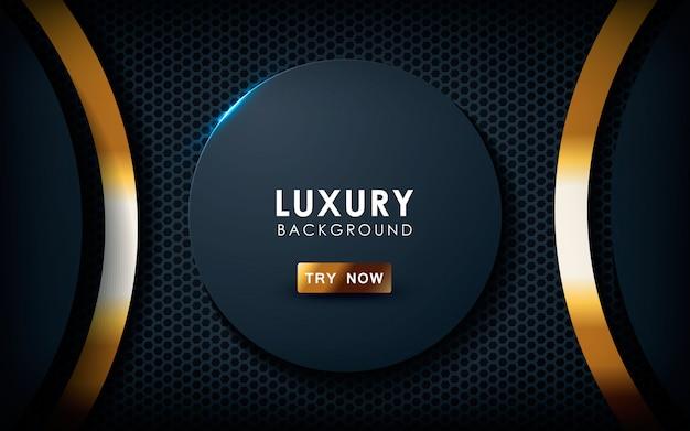 Realistico sfondo nero con effetto oro Vettore Premium