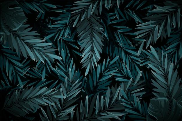 Realistico sfondo scuro foglie tropicali Vettore gratuito