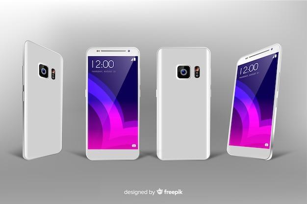 Realistico smartphone bianco in diverse visualizzazioni Vettore gratuito