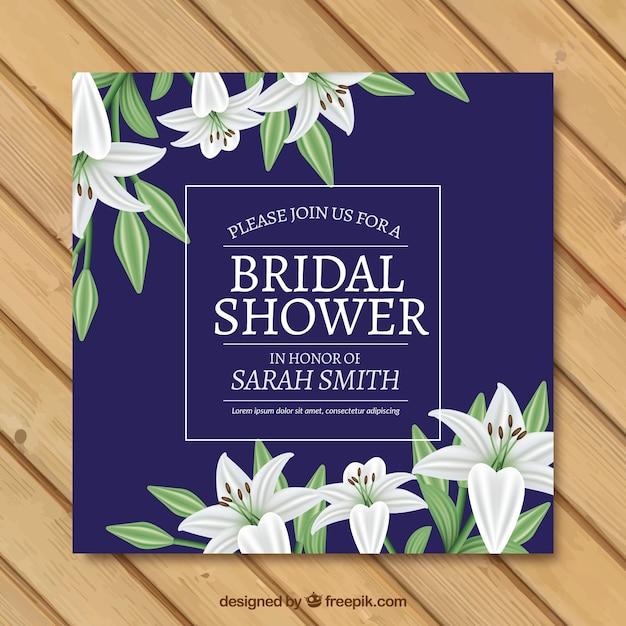 Realistico sposa doccia invito di bei fiori Vettore gratuito