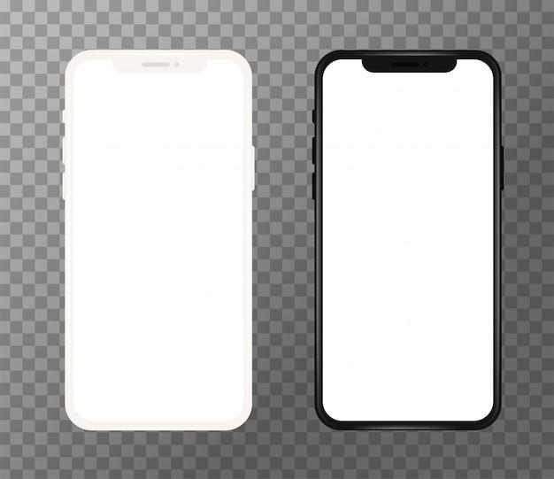 Realistico telefono cellulare bianco e nero, schermo vuoto Vettore Premium