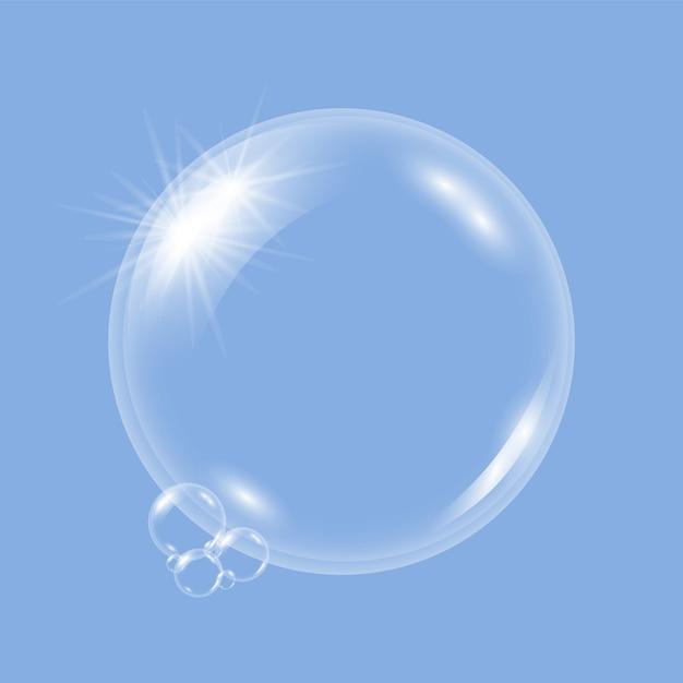 Realistico trasparente acqua bolle di sapone, palle o sfere su uno sfondo blu. Vettore Premium