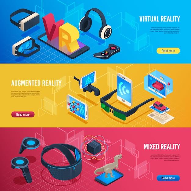 Realtà aumentata, banner di comunicazione per cuffie senza fili con realtà virtuale isometrica Vettore Premium