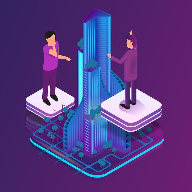 Realtà aumentata immagine isometrica per architetto Vettore Premium