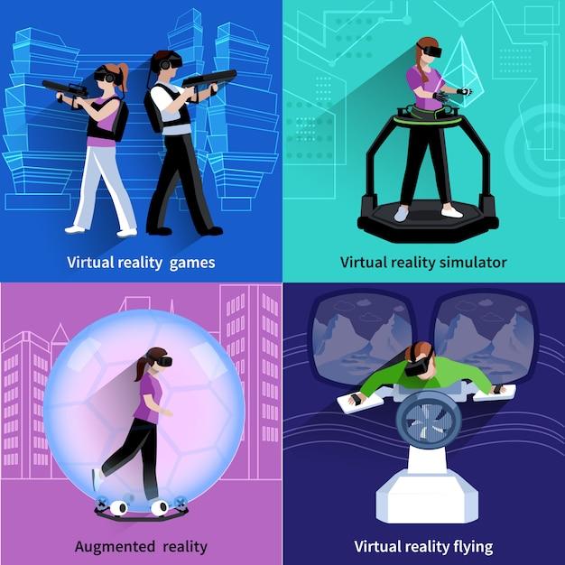 Realtà aumentata virtuale 4 icone quadrate Vettore gratuito