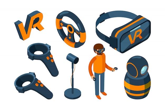 Realtà virtuale 3d. casco futuristico per videogiochi e cuffia digitale per occhiali con aumento isometrico Vettore Premium