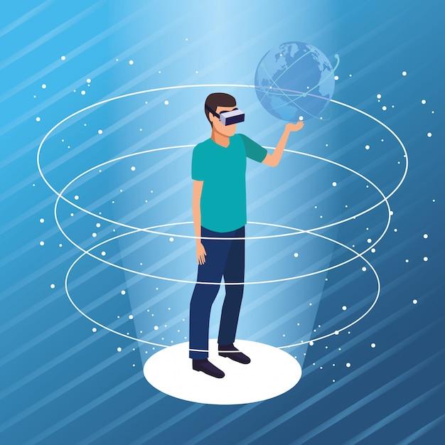 Realtà virtuale e cartoni animati di amici Vettore gratuito