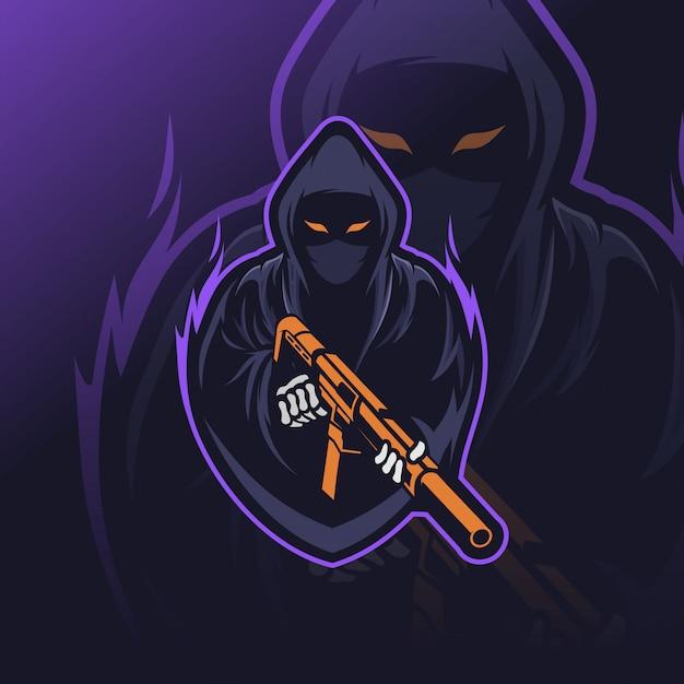 Reaper esport logo Vettore Premium