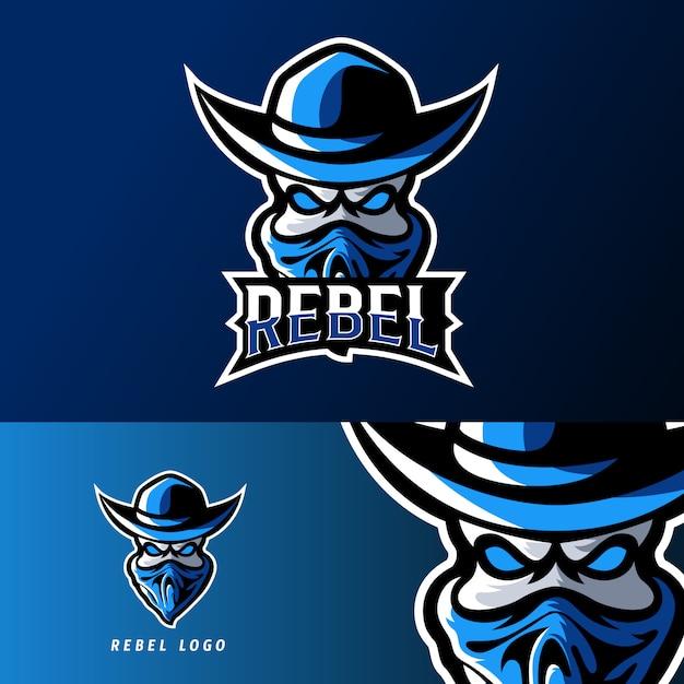 Rebel bandit sport o esport gaming mascot logo template Vettore Premium