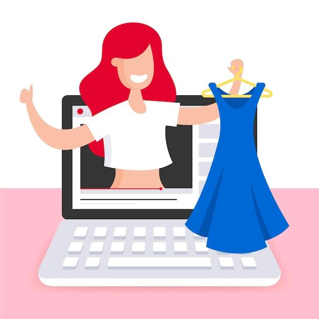 Recensione di blogger di moda e abbigliamento Vettore gratuito