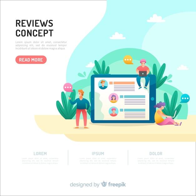 Recensioni concetto per landing page Vettore gratuito