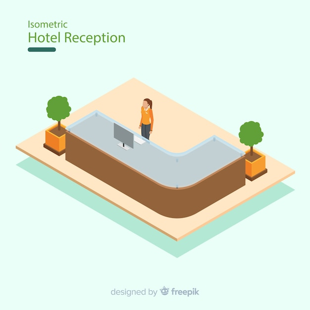 Reception dell'hotel moderna con design piatto Vettore gratuito