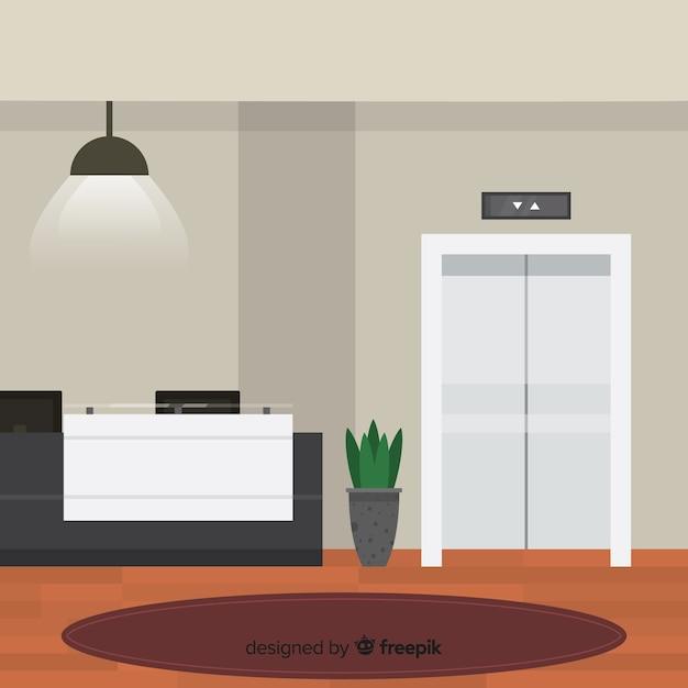 Reception dell'hotel moderna con design piatto Vettore gratuito